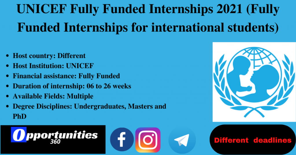 UNICEF Fully Funded Internships 2021 (Fully Funded Internships for international students)