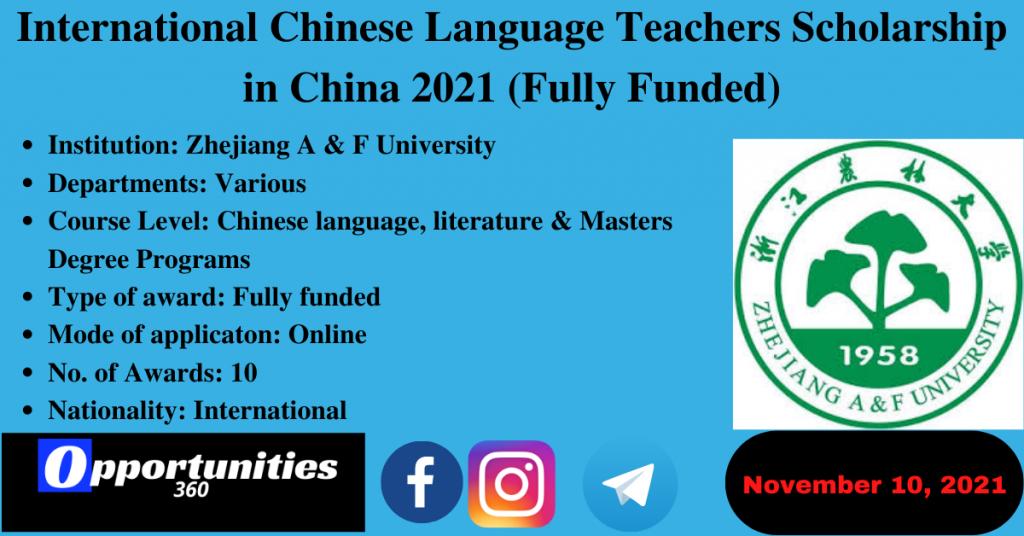 International Chinese Language Teachers Scholarship in China 2021 (Fully Funded)