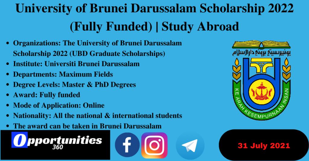 University of Brunei Darussalam Scholarship 2022 (Fully Funded) | Study Abroad