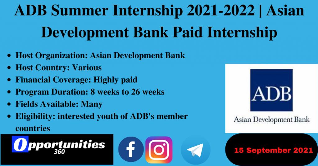 ADB Summer Internship 2021-2022 | Asian Development Bank Paid Internship