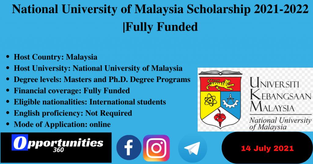 National University of Malaysia Scholarship 2021-2022 |Fully Funded