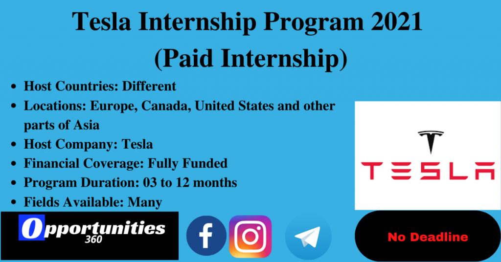 Tesla Internship Program 2021 (Paid Internship)