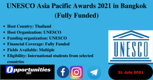 UNESCO Asia Pacific Awards 2021 in Bangkok (Fully Funded)