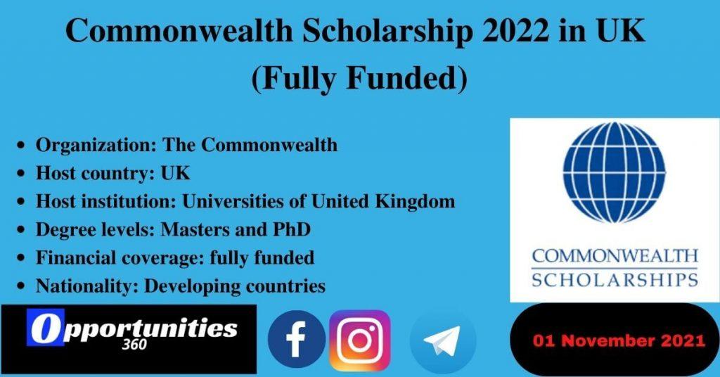 Commonwealth Scholarship 2022
