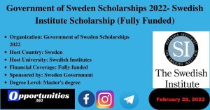 Government of Sweden Scholarships 2022