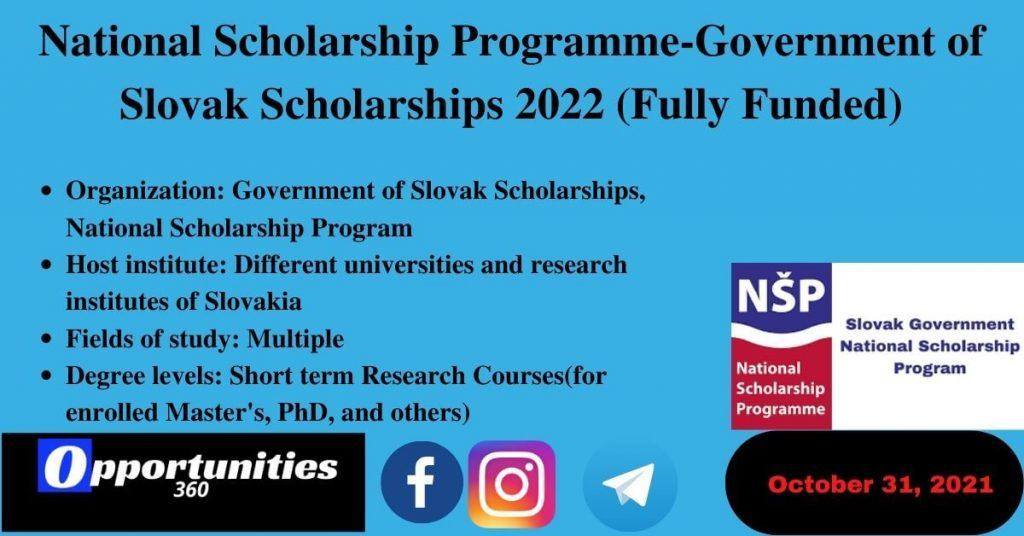 Government of Slovak Scholarships 2022